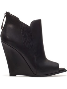 Peep Toe Wedge Ankle Boot - predominant colour: black; occasions: casual, evening; material: leather; heel height: high; embellishment: zips; heel: wedge; toe: open toe/peeptoe; boot length: shoe boot; style: standard; finish: plain; pattern: plain