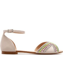 Vamp And Heel With Diamante - predominant colour: blush; occasions: casual, evening, work, holiday; material: faux leather; heel height: flat; embellishment: crystals; ankle detail: ankle strap; heel: standard; toe: open toe/peeptoe; style: standard; trends: fluorescent, metallics; finish: plain; pattern: plain