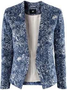 Jacket - style: single breasted blazer; collar: standard lapel/rever collar; predominant colour: navy; occasions: casual, evening, work, occasion; length: standard; fit: tailored/fitted; fibres: cotton - mix; waist detail: fitted waist; sleeve length: long sleeve; sleeve style: standard; trends: statement prints; collar break: low/open; pattern type: fabric; pattern size: standard; pattern: patterned/print; texture group: woven light midweight