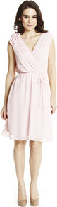 Corsage Shoulder Dress - style: faux wrap/wrap; neckline: low v-neck; fit: fitted at waist; pattern: plain; sleeve style: sleeveless; waist detail: belted waist/tie at waist/drawstring; bust detail: ruching/gathering/draping/layers/pintuck pleats at bust; predominant colour: blush; occasions: evening, occasion; length: on the knee; fibres: polyester/polyamide - 100%; hip detail: ruching/gathering at hip; shoulder detail: added shoulder detail; sleeve length: sleeveless; texture group: sheer fabrics/chiffon/organza etc.; trends: volume; pattern type: fabric; pattern size: small &amp; light