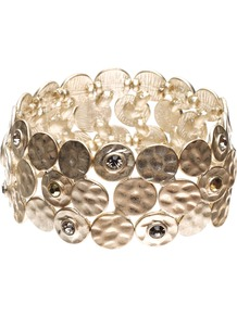 Leonor Bracelet - predominant colour: gold; occasions: casual, evening, work, occasion, holiday; style: bangle; size: large/oversized; material: chain/metal; finish: metallic; embellishment: crystals