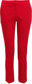 Christine Tapered Trousers - pattern: plain; waist: mid/regular rise; predominant colour: true red; occasions: casual, work; length: ankle length; fibres: cotton - stretch; fit: tapered; pattern type: fabric; pattern size: standard; texture group: other - light to midweight; style: standard