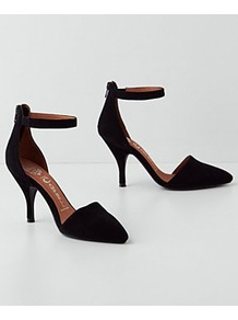 Solace Heels - predominant colour: black; occasions: evening, work, occasion; material: leather; heel height: mid; embellishment: zips; ankle detail: ankle strap; heel: standard; toe: pointed toe; style: courts; finish: plain; pattern: plain