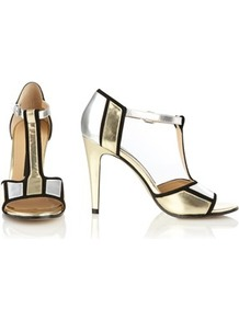 Nicky T Bar Heels - predominant colour: gold; occasions: evening, occasion; material: leather; heel height: high; ankle detail: ankle strap; heel: stiletto; toe: open toe/peeptoe; style: t-bar; trends: metallics; finish: metallic; pattern: colourblock