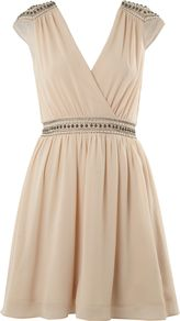 Women's Embellished Shoulder Cross Over Dress, Cream - style: faux wrap/wrap; length: mid thigh; neckline: low v-neck; sleeve style: sleeveless; waist detail: embellishment at waist/feature waistband; back detail: low cut/open back; predominant colour: nude; occasions: evening, occasion; fit: fitted at waist & bust; fibres: polyester/polyamide - 100%; shoulder detail: added shoulder detail; sleeve length: sleeveless; texture group: sheer fabrics/chiffon/organza etc.; trends: volume; pattern type: fabric; pattern size: small & light; embellishment: beading
