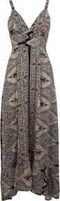 Women's Chevron Paisley Maxi Dress, Multi Coloured - neckline: low v-neck; sleeve style: sleeveless; style: maxi dress; length: ankle length; waist detail: fitted waist; predominant colour: mid grey; occasions: casual, evening, holiday; fit: body skimming; fibres: cotton - 100%; back detail: longer hem at back than at front; sleeve length: sleeveless; pattern type: fabric; pattern size: small & busy; pattern: patterned/print; texture group: other - light to midweight