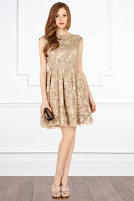 Josette Dress - sleeve style: sleeveless; style: prom dress; waist detail: fitted waist; predominant colour: gold; occasions: evening, occasion; length: just above the knee; fit: fitted at waist & bust; fibres: polyester/polyamide - 100%; neckline: crew; hip detail: soft pleats at hip/draping at hip/flared at hip; sleeve length: sleeveless; texture group: sheer fabrics/chiffon/organza etc.; pattern type: fabric; pattern size: standard; pattern: patterned/print; embellishment: embroidered