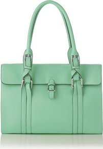Emma Leather Shoulder Bag Green Mint - predominant colour: pistachio; occasions: casual, evening, work; type of pattern: standard; style: tote; length: shoulder (tucks under arm); size: standard; material: leather; pattern: plain; finish: plain; embellishment: buckles