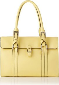 Emma Leather Shoulder Bag Yellow Lemon - predominant colour: primrose yellow; occasions: casual, evening, work; type of pattern: standard; style: tote; length: shoulder (tucks under arm); size: standard; material: leather; pattern: plain; finish: plain; embellishment: buckles
