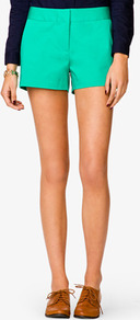 Essential Waist Pocket Shorts - pattern: plain; style: shorts; pocket detail: small back pockets, pockets at the sides; length: short shorts; waist: mid/regular rise; predominant colour: emerald green; occasions: casual, evening, holiday; fibres: cotton - stretch; hip detail: fitted at hip (bottoms); texture group: cotton feel fabrics; fit: straight leg; pattern type: fabric; pattern size: standard