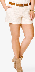 Floral Lace Shorts - style: shorts; pocket detail: pockets at the sides; length: mid thigh shorts; waist: mid/regular rise; predominant colour: ivory; occasions: casual, evening, holiday; fibres: cotton - mix; hip detail: fitted at hip (bottoms); texture group: lace; fit: straight leg; pattern type: fabric; pattern size: small & light; pattern: patterned/print