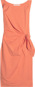 New Della Ruched Cotton Blend Dress - style: shift; neckline: round neck; fit: tailored/fitted; pattern: plain; sleeve style: sleeveless; waist detail: belted waist/tie at waist/drawstring; predominant colour: bright orange; occasions: evening, work; length: just above the knee; fibres: cotton - mix; sleeve length: sleeveless; texture group: silky - light; pattern type: fabric; pattern size: standard