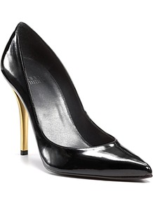 Pointed Toe Pumps Naughty High Heel - predominant colour: black; occasions: evening, occasion; material: leather; heel: stiletto; toe: pointed toe; style: courts; finish: patent; pattern: plain; heel height: very high