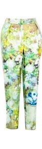 Nallie Silk Printed Trousers - pocket detail: small back pockets, pockets at the sides; waist detail: wide waistband/cummerbund; waist: mid/regular rise; occasions: evening, work, occasion, holiday; length: ankle length; fibres: silk - 100%; hip detail: front pleats at hip level; predominant colour: multicoloured; texture group: structured shiny - satin/tafetta/silk etc.; trends: high impact florals; fit: slim leg; pattern type: fabric; pattern size: standard; pattern: florals; style: standard