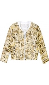Jeffry Printed Bomber Jacket - collar: mandarin; style: bomber; predominant colour: camel; occasions: casual; length: standard; fit: straight cut (boxy); fibres: linen - mix; sleeve length: long sleeve; sleeve style: standard; trends: sporty redux; collar break: high; pattern type: fabric; pattern size: standard; pattern: animal print; texture group: woven light midweight