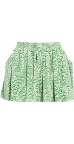 Printed Floaty Mini Skirt With Pockets - length: mini; fit: body skimming; waist: high rise; predominant colour: emerald green; occasions: casual, work, holiday; style: mini skirt; fibres: silk - 100%; hip detail: soft pleats at hip/draping at hip/flared at hip; texture group: silky - light; pattern type: fabric; pattern size: big & busy; pattern: patterned/print