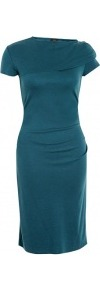 Teal Blue Exclusive Maria Wool Interlock Dress - style: shift; sleeve style: capped; pattern: plain; waist detail: fitted waist; predominant colour: teal; occasions: evening, work, occasion; length: just above the knee; fit: body skimming; fibres: wool - 100%; neckline: crew; shoulder detail: structured/bulky pleats/bulky detail at shoulder; sleeve length: short sleeve; trends: glamorous day shifts; pattern type: fabric; pattern size: standard; texture group: other - light to midweight