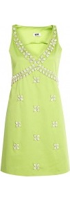 Shell Applique Sleeveless Dress - style: shift; length: mid thigh; neckline: low v-neck; pattern: plain; sleeve style: sleeveless; bust detail: added detail/embellishment at bust; predominant colour: lime; occasions: evening, occasion, holiday; fit: body skimming; fibres: cotton - mix; sleeve length: sleeveless; trends: glamorous day shifts; pattern type: fabric; pattern size: small &amp; light; texture group: other - light to midweight; embellishment: beading