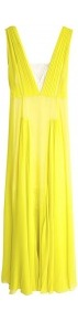 Nadra Silk Maxi Dress - neckline: low v-neck; pattern: plain; sleeve style: sleeveless; style: maxi dress; bust detail: added detail/embellishment at bust; waist detail: fitted waist; back detail: low cut/open back; predominant colour: yellow; occasions: evening, occasion; length: floor length; fit: body skimming; fibres: silk - 100%; hip detail: soft pleats at hip/draping at hip/flared at hip; shoulder detail: flat/draping pleats/ruching/gathering at shoulder; sleeve length: sleeveless; texture group: silky - light; trends: fluorescent; pattern type: fabric; pattern size: standard