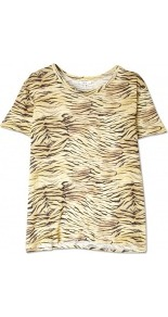 Alya Animal Print T Shirt - neckline: round neck; style: t-shirt; predominant colour: camel; occasions: casual; length: standard; fibres: linen - 100%; fit: straight cut; sleeve length: short sleeve; sleeve style: standard; pattern type: fabric; pattern size: big & busy; pattern: animal print; texture group: jersey - stretchy/drapey
