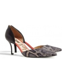 Black Multi Snake Opal Shoe - predominant colour: black; occasions: evening, work, occasion; material: leather; heel height: mid; heel: stiletto; toe: pointed toe; style: courts; finish: plain; pattern: animal print
