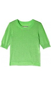 Aprilla Lurex Short Sleeve Knit - neckline: round neck; pattern: plain; style: standard; predominant colour: emerald green; occasions: casual, evening, work, holiday; length: standard; fibres: polyester/polyamide - mix; fit: standard fit; waist detail: fitted waist; sleeve length: half sleeve; sleeve style: standard; texture group: knits/crochet; trends: fluorescent; pattern type: knitted - other