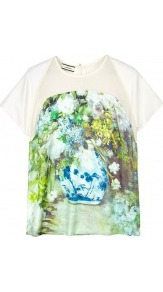 Ociane Silk Printed Top - style: t-shirt; shoulder detail: contrast pattern/fabric at shoulder; predominant colour: dark green; occasions: casual, evening, work, holiday; length: standard; fibres: silk - 100%; fit: body skimming; neckline: crew; bust detail: contrast pattern/fabric/detail at bust; back detail: keyhole/peephole detail at back; sleeve length: short sleeve; sleeve style: standard; texture group: silky - light; trends: high impact florals; pattern type: fabric; pattern size: small &amp; busy; pattern: patterned/print