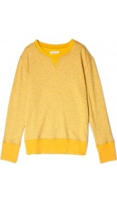 Gold Stadium Sweatshirt Current Elliott - neckline: round neck; pattern: plain; style: sweat top; predominant colour: yellow; occasions: casual; length: standard; fibres: cotton - mix; fit: straight cut; sleeve length: long sleeve; sleeve style: standard; trends: sporty redux; pattern type: fabric; pattern size: standard; texture group: jersey - stretchy/drapey