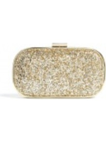 Glitter Marano Clutch Bag - predominant colour: gold; occasions: evening, occasion; type of pattern: light; style: clutch; length: hand carry; size: small; material: leather; embellishment: glitter; pattern: plain; trends: metallics; finish: metallic
