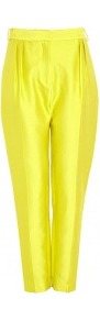 Corrones Silk Cotton Trousers - pattern: plain; style: capri; pocket detail: small back pockets, pockets at the sides; waist detail: wide waistband/cummerbund; waist: high rise; predominant colour: yellow; occasions: casual, evening, work, occasion, holiday; length: ankle length; fibres: silk - 100%; hip detail: front pleats at hip level; texture group: silky - light; trends: fluorescent; fit: tapered; pattern type: fabric