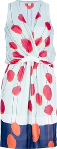 &#x27;Jessica&#x27; Printed Dress - style: faux wrap/wrap; neckline: v-neck; fit: fitted at waist; sleeve style: sleeveless; waist detail: fitted waist; predominant colour: pale blue; occasions: evening, occasion; length: just above the knee; fibres: silk - 100%; sleeve length: sleeveless; texture group: silky - light; pattern type: fabric; pattern size: big &amp; busy; pattern: patterned/print