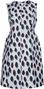 'New Summer' Sleeveless Dress - style: shift; fit: fitted at waist; sleeve style: sleeveless; waist detail: fitted waist; predominant colour: light grey; occasions: evening, occasion; length: just above the knee; fibres: cotton - mix; neckline: crew; sleeve length: sleeveless; texture group: silky - light; pattern type: fabric; pattern size: standard; pattern: patterned/print