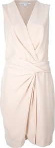 Wrap Dress - style: faux wrap/wrap; neckline: v-neck; fit: tailored/fitted; pattern: plain; sleeve style: sleeveless; waist detail: twist front waist detail/nipped in at waist on one side/soft pleats/draping/ruching/gathering waist detail; predominant colour: ivory; occasions: work, occasion; length: just above the knee; fibres: viscose/rayon - stretch; sleeve length: sleeveless; texture group: crepes; pattern type: fabric