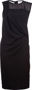 Layered Drape Dress - style: shift; pattern: plain; sleeve style: sleeveless; bust detail: sheer at bust; waist detail: twist front waist detail/nipped in at waist on one side/soft pleats/draping/ruching/gathering waist detail; predominant colour: black; occasions: evening, occasion; length: just above the knee; fit: body skimming; fibres: silk - mix; neckline: crew; hip detail: soft pleats at hip/draping at hip/flared at hip; sleeve length: sleeveless; texture group: sheer fabrics/chiffon/organza etc.; pattern type: fabric
