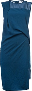 Layered Drape Dress - style: shift; pattern: plain; sleeve style: sleeveless; bust detail: sheer at bust; predominant colour: teal; occasions: evening, occasion; length: just above the knee; fit: body skimming; fibres: polyester/polyamide - 100%; neckline: crew; hip detail: soft pleats at hip/draping at hip/flared at hip; sleeve length: sleeveless; texture group: sheer fabrics/chiffon/organza etc.; pattern type: fabric