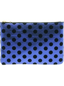 Clutch Bag With Metallic Spot - predominant colour: royal blue; occasions: casual, evening, occasion; type of pattern: large; style: clutch; length: hand carry; size: standard; material: faux leather; embellishment: zips; pattern: polka dot; trends: metallics; finish: metallic
