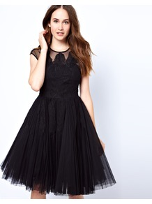 Feather Applique Evening Dress - length: below the knee; sleeve style: capped; pattern: plain; bust detail: added detail/embellishment at bust; waist detail: fitted waist; shoulder detail: contrast pattern/fabric at shoulder; predominant colour: black; occasions: evening, occasion; fit: fitted at waist &amp; bust; style: fit &amp; flare; fibres: polyester/polyamide - 100%; neckline: crew; hip detail: structured pleats at hip; sleeve length: short sleeve; texture group: sheer fabrics/chiffon/organza etc.; trends: volume; pattern type: fabric; pattern size: standard; embellishment: embroidered