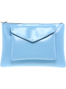 Clutch Bag With Removable Front Pocket - predominant colour: pale blue; occasions: casual, evening, work, occasion, holiday; style: clutch; length: hand carry; size: oversized; material: faux leather; embellishment: zips; pattern: plain; finish: plain