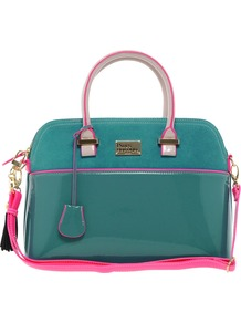 Pauls Boutique Maisy Suede Patent Bag - predominant colour: teal; occasions: casual, work; style: tote; length: handle; size: standard; material: faux leather; embellishment: tassels; pattern: plain; finish: patent