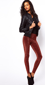 Leggings In Lurex - length: standard; pattern: plain; style: leggings; waist detail: elasticated waist; waist: high rise; predominant colour: burgundy; occasions: casual, evening; fibres: nylon - mix; hip detail: fitted at hip (bottoms); texture group: lycra/elastane mixes; trends: metallics; fit: skinny/tight leg; pattern type: fabric; pattern size: small & light