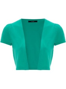 Short Sleeve Cropped Cardigan Jade - pattern: plain; style: bolero/shrug; length: cropped; neckline: collarless open; predominant colour: emerald green; occasions: casual, work, occasion; fibres: cotton - mix; fit: slim fit; sleeve length: short sleeve; sleeve style: standard; texture group: knits/crochet; pattern type: knitted - fine stitch; pattern size: standard