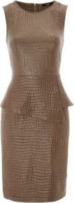 Animal Print Peplum Dress Chocolate - style: shift; neckline: round neck; fit: tailored/fitted; sleeve style: sleeveless; waist detail: peplum waist detail; predominant colour: chocolate brown; occasions: evening, work, occasion; length: just above the knee; fibres: viscose/rayon - 100%; sleeve length: sleeveless; texture group: leather; trends: glamorous day shifts; hip detail: ruffles/tiers/tie detail at hip; pattern type: fabric; pattern size: small &amp; busy; pattern: animal print