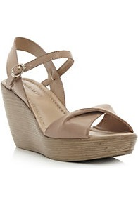 Gessica Twisted Vamp Wedge Sandal - predominant colour: tan; occasions: casual, evening, work, holiday; material: faux leather; heel height: high; ankle detail: ankle strap; heel: wedge; toe: open toe/peeptoe; style: standard; finish: plain; pattern: plain