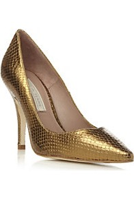 Amana Metallic Pointed Toe Court Shoe - predominant colour: bronze; occasions: evening, occasion; material: leather; heel height: high; heel: stiletto; toe: pointed toe; style: courts; finish: metallic; pattern: plain