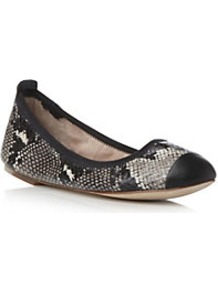 Bl724 Snake Print Toe Cap Ballerina - predominant colour: black; occasions: casual, work; material: leather; heel height: flat; toe: round toe; style: ballerinas / pumps; finish: plain; pattern: animal print
