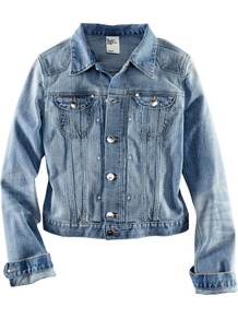 Denim Jacket - pattern: plain; style: denim; fit: slim fit; predominant colour: denim; occasions: casual; length: standard; fibres: cotton - stretch; collar: shirt collar/peter pan/zip with opening; sleeve length: long sleeve; sleeve style: standard; texture group: denim; collar break: high; pattern type: fabric; pattern size: standard