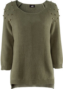 Jumper - neckline: round neck; pattern: plain; style: standard; predominant colour: khaki; occasions: casual, evening, work; length: standard; fibres: cotton - mix; fit: standard fit; shoulder detail: added shoulder detail; back detail: longer hem at back than at front; sleeve length: 3/4 length; sleeve style: standard; texture group: knits/crochet; pattern type: knitted - fine stitch; pattern size: small & light