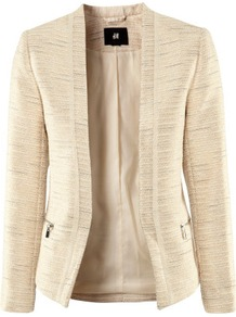 Jacket - pattern: plain; style: single breasted blazer; collar: shawl/waterfall; predominant colour: stone; occasions: casual, work; length: standard; fit: tailored/fitted; fibres: polyester/polyamide - mix; waist detail: fitted waist; sleeve length: long sleeve; sleeve style: standard; collar break: low/open; pattern type: fabric; pattern size: standard; texture group: woven light midweight