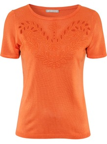 Jumper - neckline: round neck; pattern: plain; style: standard; predominant colour: bright orange; occasions: casual, work; length: standard; fibres: silk - mix; fit: standard fit; sleeve length: short sleeve; sleeve style: standard; pattern type: knitted - fine stitch; pattern size: small & light; texture group: jersey - stretchy/drapey; embellishment: embroidered