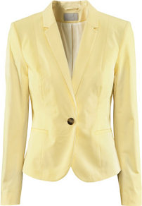 Jacket - pattern: plain; style: single breasted blazer; collar: standard lapel/rever collar; predominant colour: primrose yellow; occasions: casual, work, occasion; length: standard; fit: tailored/fitted; fibres: cotton - stretch; waist detail: fitted waist; sleeve length: long sleeve; sleeve style: standard; collar break: medium; pattern type: fabric; texture group: woven light midweight